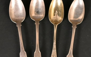 English Gilt Silver Serving Spoon, Paul Hanet