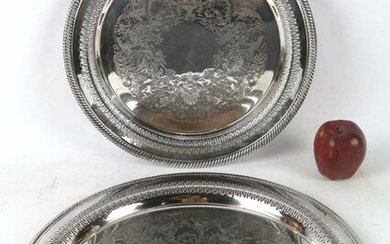 FINE SILVER PLATED ROUND SERVING TRAY GROUPING
