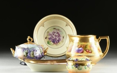 FIVE FRENCH PARCEL GILT PURPLE ENAMELED PORCELAIN