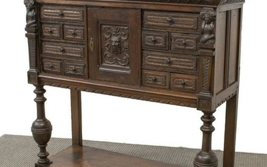 FRENCH MEDIEVAL STYLE CARVED OAK SERVER