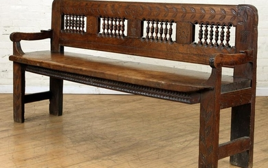 FRENCH PROVINCIAL CARVED OAK BENCH C.1880