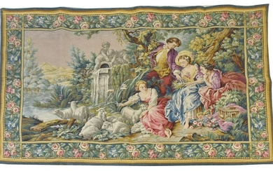 FRENCH ROCOCO STYLE PASTORAL HANGING TAPESTRY