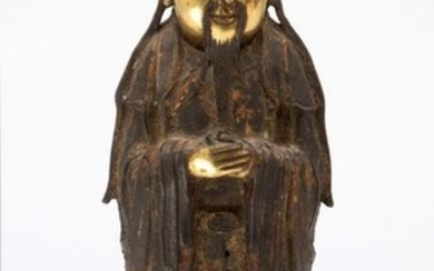 Figure - Bronze - A Bronze Partial Gilt Standing Figure Of Wenchang Wang - China - Ming Dynasty (1368-1644)