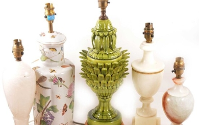 Five assorted lamp bases, including a lead-glazed pineapple form