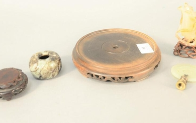 Five piece Chinese group to include agate vase on