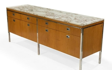 Florence Knoll Style Marble Top Credenza