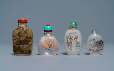 Four Chinese reverse painted glass snuff bottles, 19/20th...