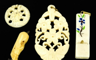 Four Vintage Carved Bone Necklace Pendants