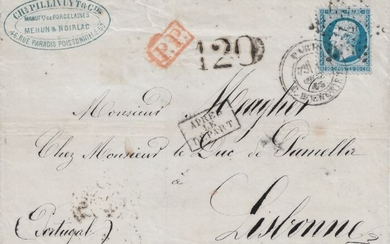 France 1865 - Very rare Empire, perforate, 20 centimes blue, on a taxed letter bound for Lisbon. - Yvert 22