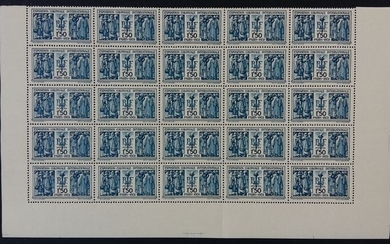 France 1930/1931 - International colonial exhibition in Paris, 1.50 francs, blue, sheet of 25. - Yvert 274