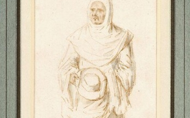 French School, mid 18th Century- Studies of Clergymen; pen and...