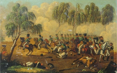 French hand painted tin box Napoleon Battle of Marengo ? c1800 GC3A