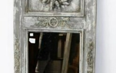 French trumeau mirror with plaster cherub in relief