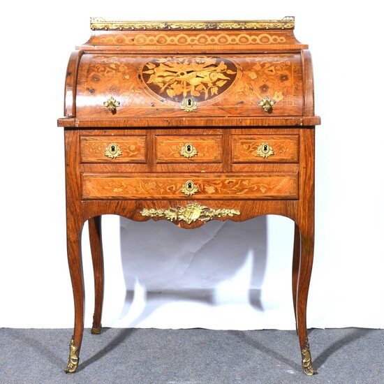 French walnut and marquetry bureau a cylindre