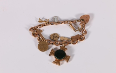 Gold bracelet with engraved cruciform locket and other items...