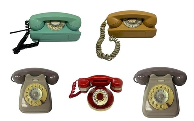 Group of 5 vintage telephones. 1 wall telephone in