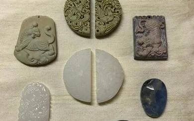 Grouping of Chinese Carved Stone Medallions, Plaques