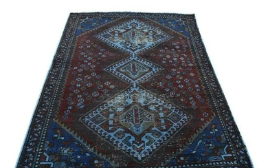 Hand Knotted Vintage Overdyed Persian Shiraz Oriental