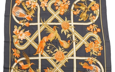 """NOT SOLD. Hermès: """"Caraïbes"""". A silk scarf with rolled hem, motif by Christiane Vauzelles. 85..."""