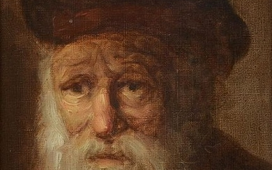 ILLEGIBLY SIGNED PORTRAIT PAINTING OF A RABBI