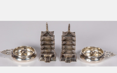 Japanese Sterling Silver Pagoda Shakers
