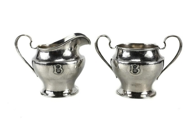 Kalo Shop Sterling Silver Creamer & Sugar Bowl