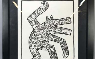 Keith Haring Signed, Dog, Marker on Paper