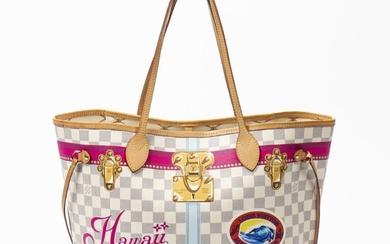 LOUIS VUITTON | IVORY AND PINK LIMITED EDITION VOYAGES HAWAIIAN TRUNK DAMIER AZUR NEVERFULL MM WITH GOLDEN BRASS HARDWARE