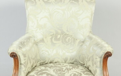 LOUIS XV STYLE CARVED FRUITWOOD BERGERE WITH CELERY COLOR DAMASK...