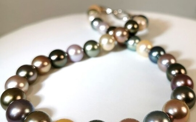 #LOW RESERVE PRICE# Multicolor freshwater pearls, Multicolor Tahitian pearls, Silver, 10x12,5mm - With beautiful Edison pearls - Necklace