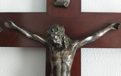 Large 19th century mahogany and bronze crucifix (1) - Baroque - Bronze, silver, Cuban mahogany. - Second half 19th century