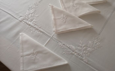 Linen blend tablecloth with hand stitch embroidery - 270 x 180 cm - Cotton, Linen - 21st century