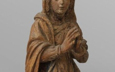 Lombard school early XVI century 'Madonna in prayer' wooden sculpture with traces of polychromy