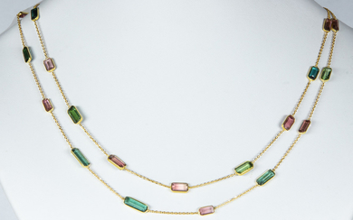 (Lot of 2) Tourmaline, 18k yellow gold necklaces