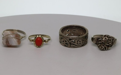Lot of 4 silver ring