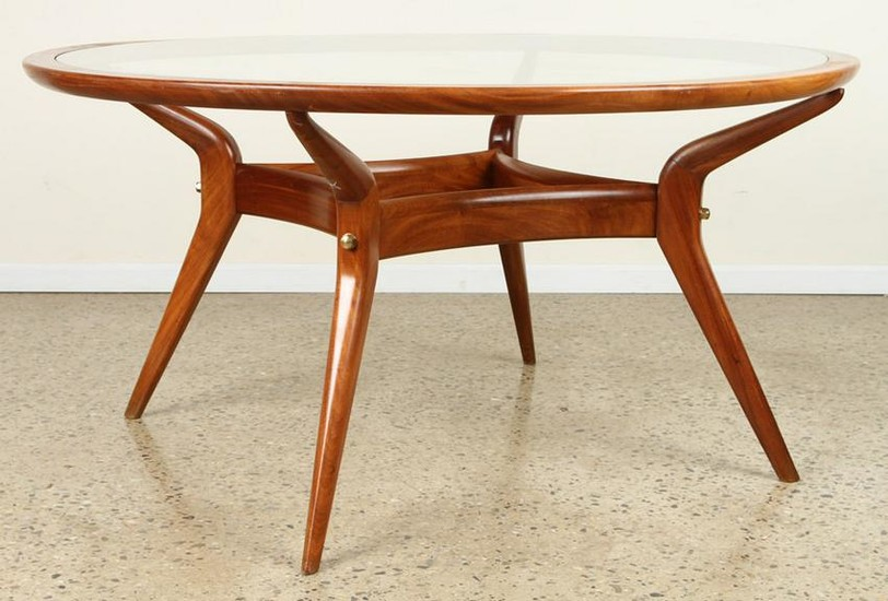 MAHOGANY GLASS DINING TABLE INSET GLASS C.1960
