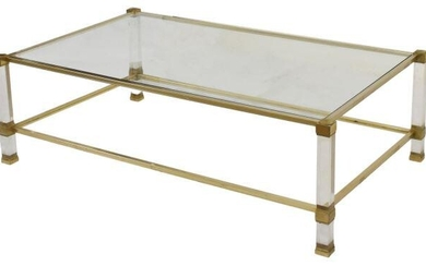 MODERN ITALIAN GLASS-TOP PLEXI COFFEE TABLE