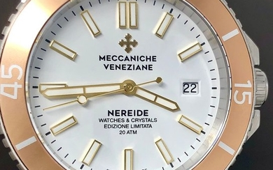 Meccaniche Veneziane - Automatic Watch Nereide LIMITED EDITION Argilla Crema + Rubber Strap Swiss Made - W&C White - Men - Brand New