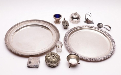 Melange of silver and silver plated ware incl Elephant finial silver box and a sterling silver lidded glass perfume bottle