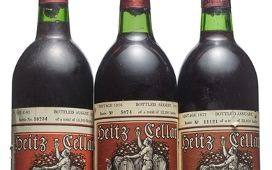 Mixed Heitz, Cabernet Sauvignon, Heitz, Lot C-91 Cabernet Sauvignon 1969 Slightly nicked labels Levels into neck (2) Heitz, Fay Vineyard Cabernet Sauvignon 1976 Slightly bin-soiled labels, one nicked Levels three base of neck and two top shoulder (5)...