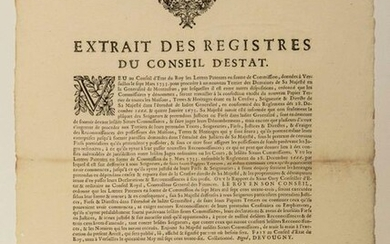 NEW BURROW OF THE GENERALITY OF MONTAUBAN 1736. Letters patent in the form of Commission to proceed with the making of the new TERRIER paper of the Domain of His Majesty in the Generality of MONTAUBAN. Extract from the registers of the Council of...