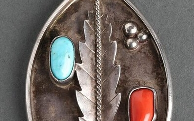 Native American Silver Turquoise & Coral Pendant