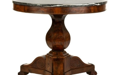 Neoclassical Marble Top Mahagony Center Table