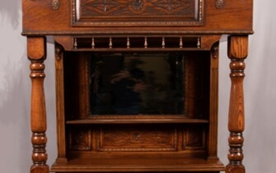 """OAK & STAINED GLASS BAR, C. 1920, H 97"""", W 57"""", D 53"""""""