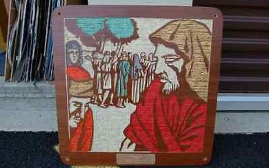 "Older wood plaque with etched scene: ""The ten lepers"""
