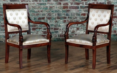PAIR ANTIQUE RESTORATION UPHOLSTERED ARM CHAIRS