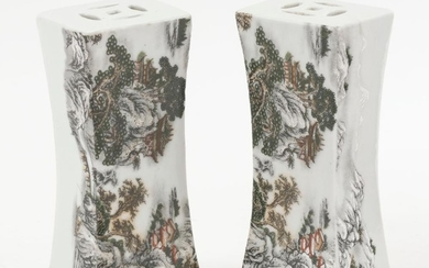 PAIR OF CHINESE MINIATURE PORCELAIN PILLOWS In modified rectangular form, with winter landscape designs. Six-character Qianlong mark...