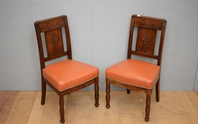 PAIR OF DIRECTOIRE PERIOD MAHOGANY SIDE CHAIRS ATTRIBUTED TO GEORGES JACOBE, C.1795 - 1810 (H87 X W50 X D45 CM) (LEONARD JOEL DELIV...