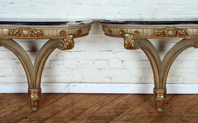 PAIR PAINTED GILT MARBLE TOP CONSOLE TABLES C1950