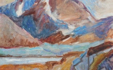 Painter unknown, 20th century: Mountain landscape. Signed P. Mårbjerg? Oil on canvas. 76.5×59.5 cm.